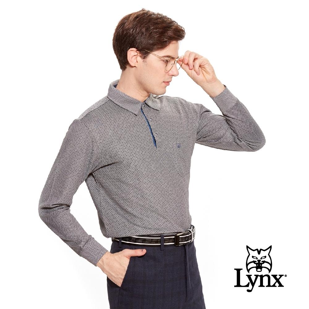 【Lynx Golf】男款吸濕排汗絲光立體網眼口袋長袖POLO衫-黑色