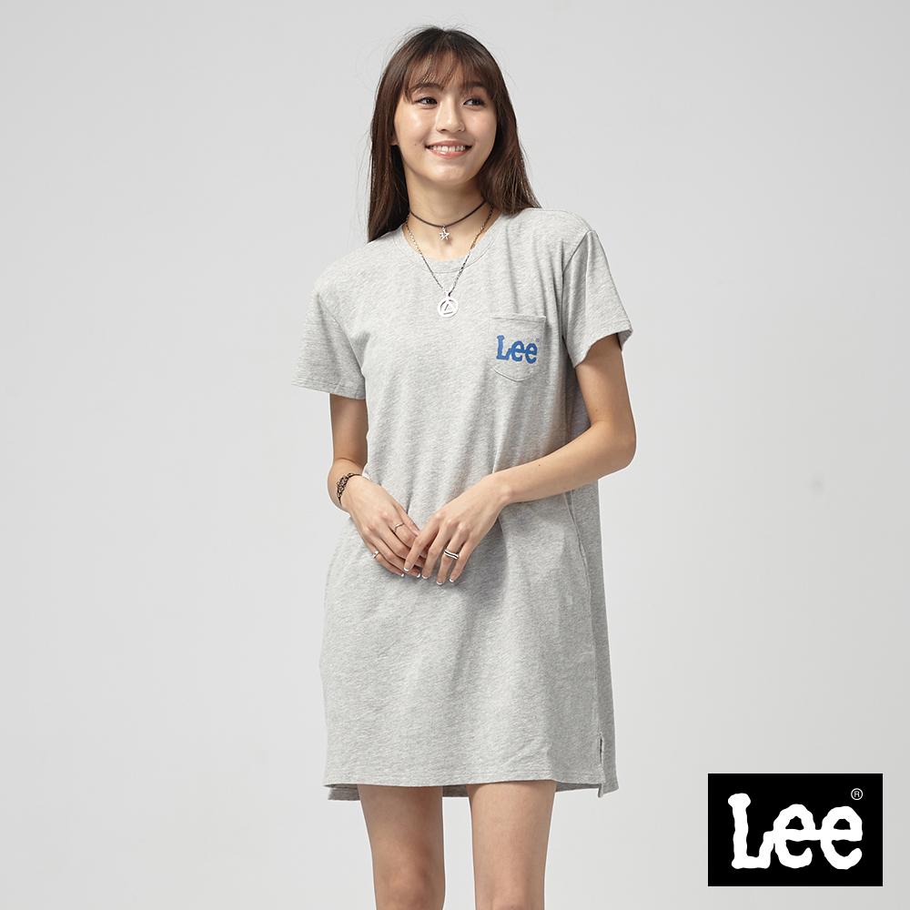 Lee 長版口袋LOGO洋裝/灰