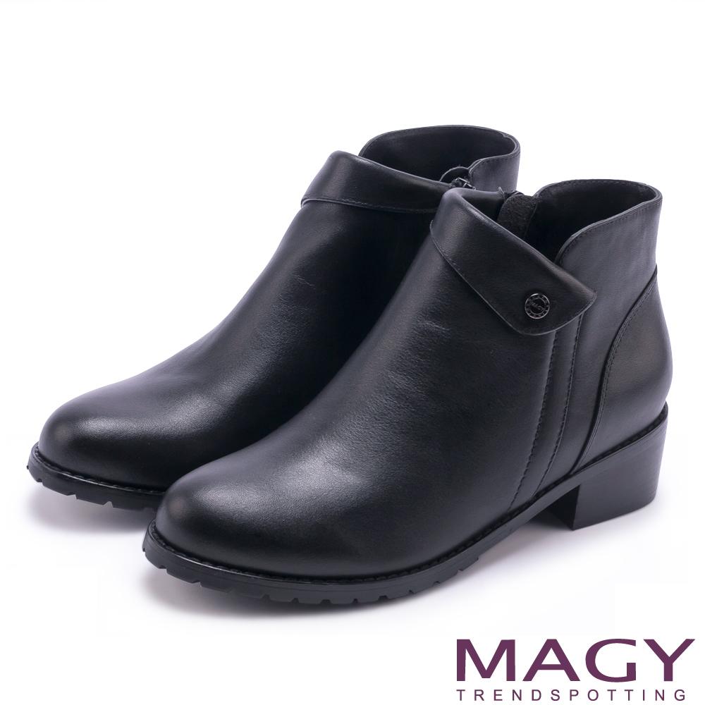 MAGY 復古反折鉚釘真皮 女 短靴 黑色