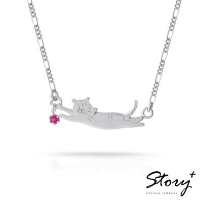 STORY故事銀飾-貓小姐系列-陪我玩純銀貓項鍊