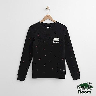 Roots -女裝- 滿版滑冰圓領上衣 - 黑