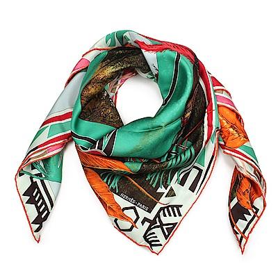 HERMES 叢林人生 圖騰真絲披肩方型絲巾-綠色
