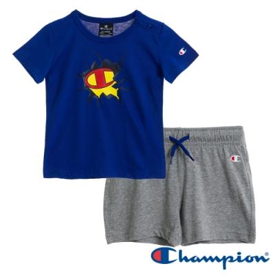 Champion EU小童短袖套裝 藍x灰
