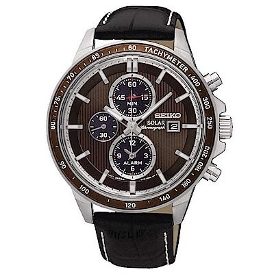SEIKO 率性風潮視距儀三眼太陽能石英腕錶(SSC503P1)咖-/43mm