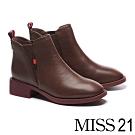 短靴 MISS 21 百搭質感鬆緊帶拼接摔紋牛皮粗高跟短靴-咖