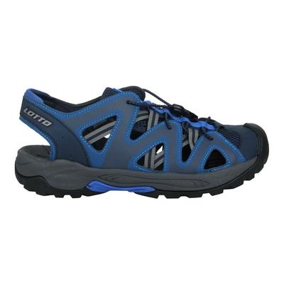 LOTTO 男排水護趾涼鞋-休閒 健走鞋 水陸鞋 反光 海邊 戲水 LT1AMS3156 藍灰黃