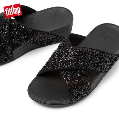 FitFlop LULU SHIMMERFOIL SLIDES 經典交叉涼鞋-女(靓黑色)