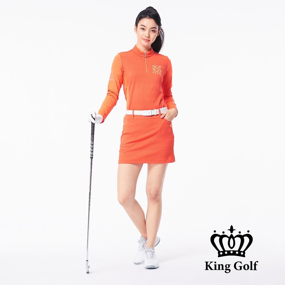 【KING GOLF】立體壓紋印花刺繡立領拉鍊長袖POLO衫-橘紅