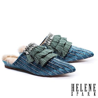拖鞋 HELENE SPARK 復古極繁流蘇鑽飾金蔥絨布尖頭穆勒拖鞋-藍