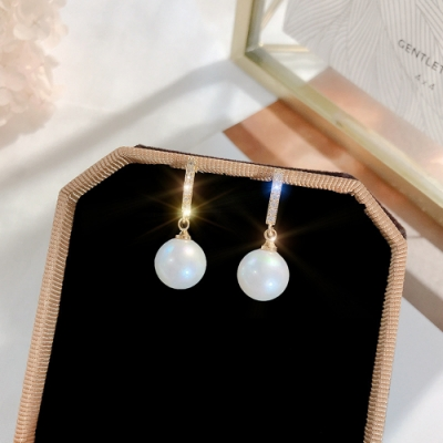 梨花HaNA 韓國925銀日和一字珍珠溫潤耳環