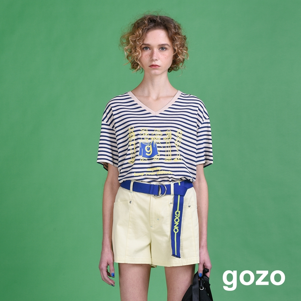 gozo 品牌logo金屬鉚釘造型短褲(二色)