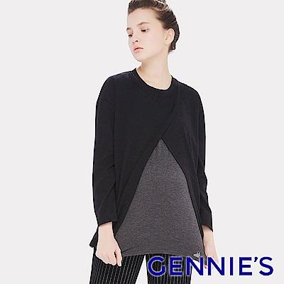 Gennies專櫃-顯瘦交叉簡約造型哺乳上衣(黑)T3E18