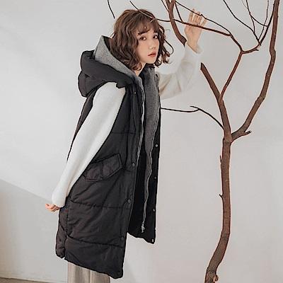 配色假兩件輕保暖雙層連帽科技羽絨棉長版背心-OB大尺碼
