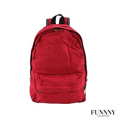 FUNNNY 日本同步後背包系列 經典水洗多色帆布後背包 紅