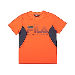 FILA KIDS 童吸濕排汗短袖上衣-橘色 1TET-4902-OR