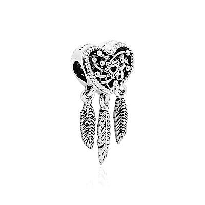 Pandora 潘朵拉 鏤空愛心捕夢網 垂墜純銀墜飾