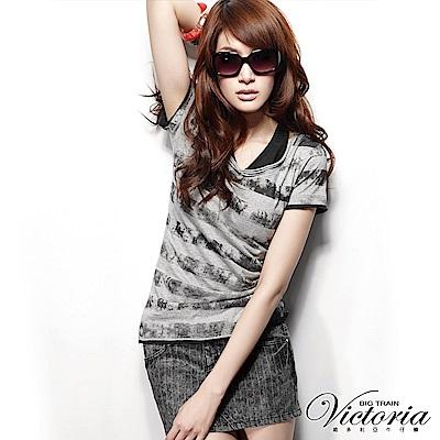 Victoria 直條紋短裙-女-黑色
