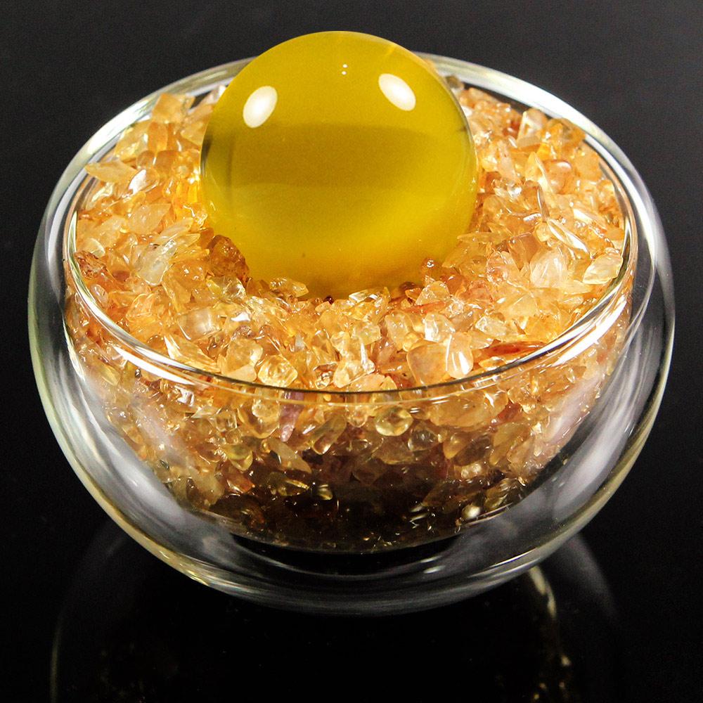 A1寶石 日本頂級天然黃水晶碎石/黃琉璃水晶球聚寶盆-招財轉運居家風水必備