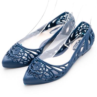 River&Moon防水鞋 晴雨兩穿異國簍空洞洞尖頭平底鞋 丹寧藍