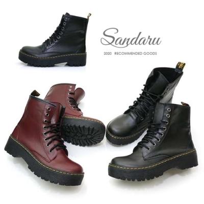 山打努SANDARU-馬丁靴 綁帶厚底中筒靴