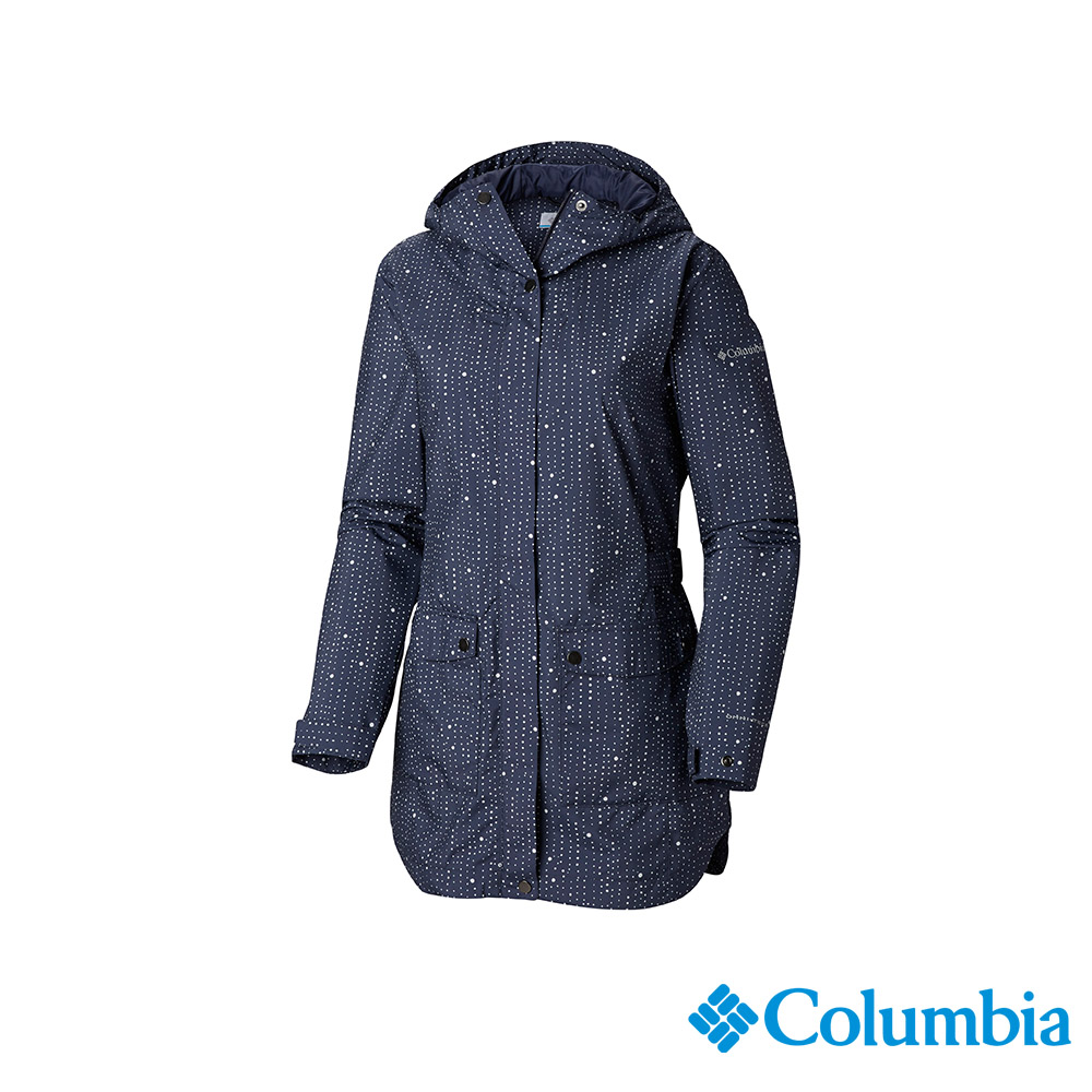 Columbia 哥倫比亞 女款-OT防水長版外套-深藍 UWR01980NY