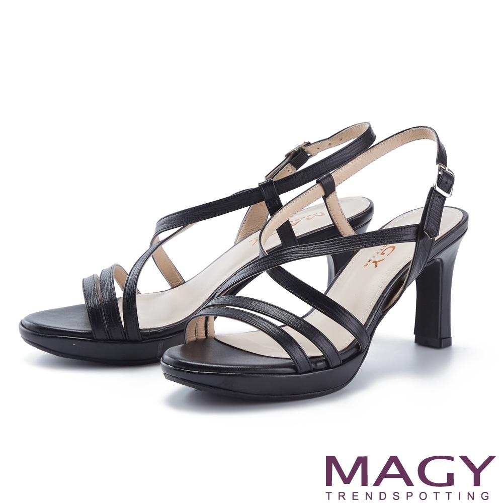 MAGY 細版牛真皮踝繞帶高跟 女 涼鞋 黑色