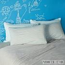 YVONNE COLLECTION 橫條紋枕套-嬰兒藍/淺灰