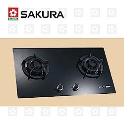 櫻花牌 SAKURA 黑色二口小面板易清檯面爐 G-2522G 天然瓦斯 限北北基配送