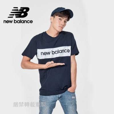 【New Balance】橫條品牌短袖T_男性_深藍色_AMT11548ECL