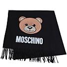 MOSCHINO 義大利製亮片小熊字母LOGO圖騰100%羊毛圍巾/披肩(黑)