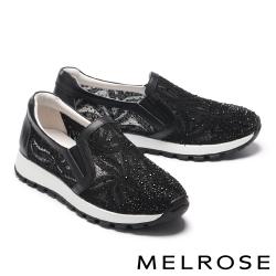 休閒鞋 MELROSE 奢華閃耀蕾絲水鑽造型厚底休閒鞋-黑