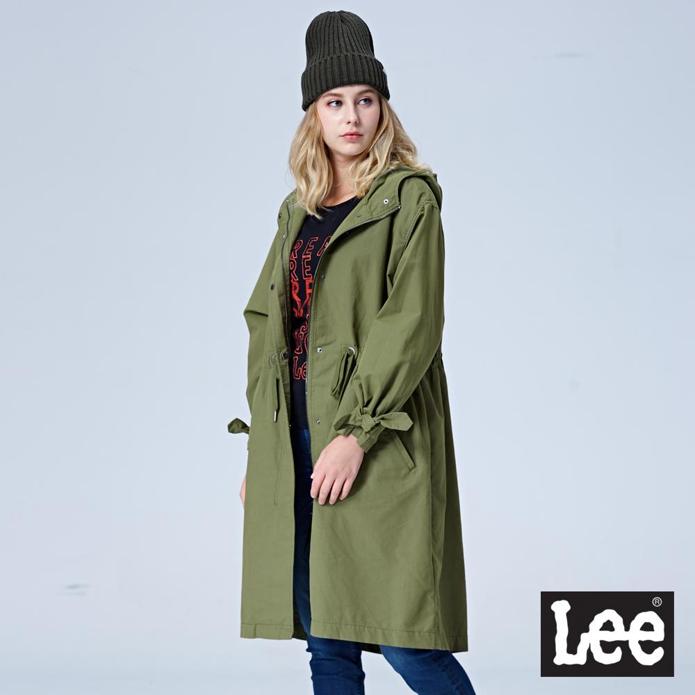 Lee 長版風衣外套-軍綠色