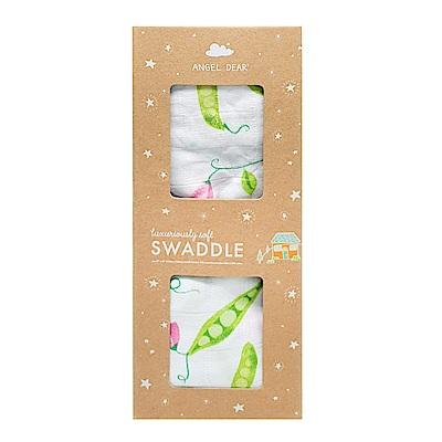 美國 Angel Dear 竹纖維嬰幼兒包巾禮盒 (豌豆花開)