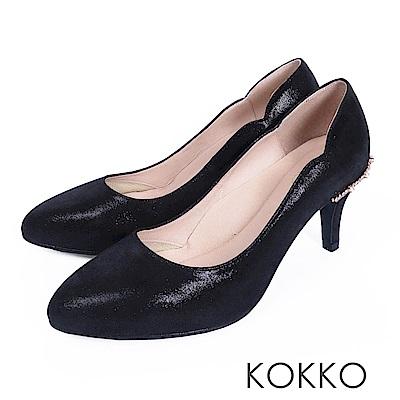 KOKKO - 華麗典藏水鑽曲線手工高跟鞋-神秘黑