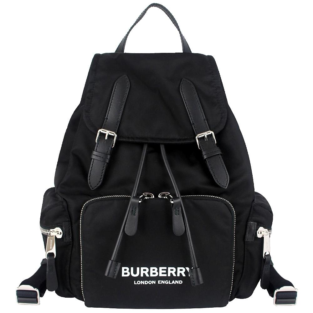 BURBERRY The Rucksack黑色尼龍皮飾邊後背包