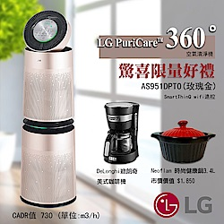 LG樂金 Wifi遙控PuriCare 360°雙層空氣清淨機 AS951DPT0 玫瑰金
