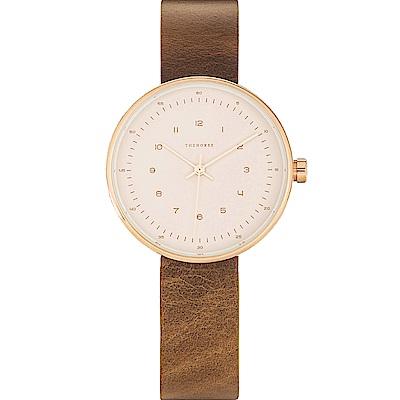 THE HORSE 極簡時尚玫瑰金真皮革腕錶 –米膚色/34mm
