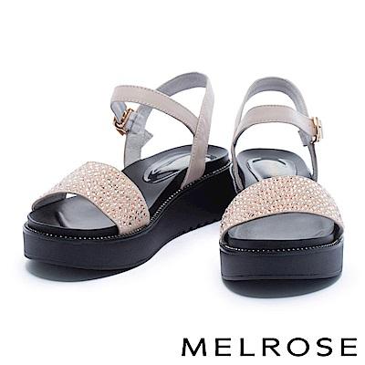 涼鞋 MELROSE 細緻亮澤晶鑽寬版一字帶厚底涼鞋-米