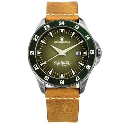 elegantsis CafeRacer 新騎士機械錶牛皮手錶-墨綠x灰框x芥黃/44mm