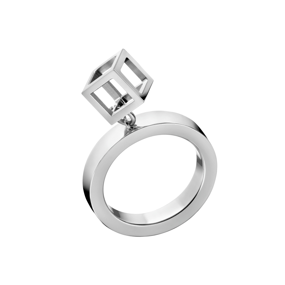 CALVIN KLEIN Da戒指 系列鏤空立體方塊造型鋼色戒指-7