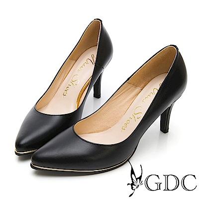 GDC-氣勢女強人尖頭性感真皮上班金邊高跟鞋-黑色