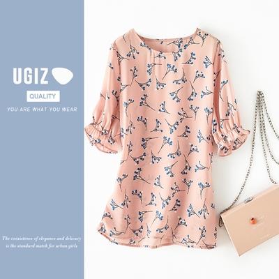 UGIZ-修身圓復古花紋縮袖口造型上衣-粉紅(M-XL)