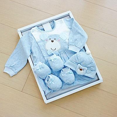 GMP BABY台灣製麻花布熊頭兩用兔裝 藍 彌月禮盒1盒