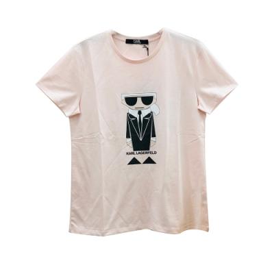 KARL LAGERFELD K/KOCKTAIL系列老佛爺圖騰短袖T恤(粉)