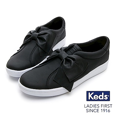 Keds 皮革蝴蝶結經典休閒鞋-黑色