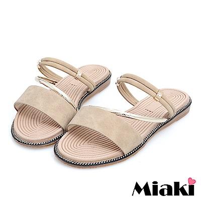 Miaki-涼鞋韓國首選平底2穿涼拖-米色