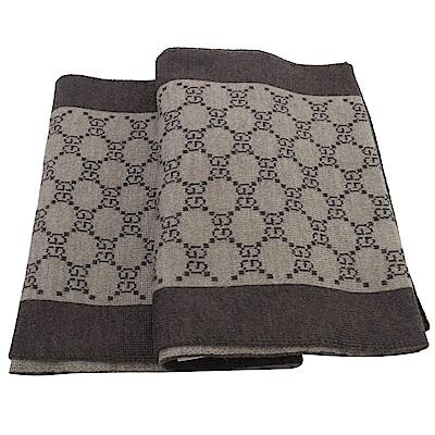 GUCCI 經典LOGO羊毛織圍巾(深咖/褐)