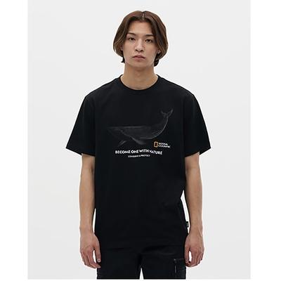 NATIONAL GEOGRAPHIC COATI FRONT WHALE 男女  短袖T恤 GREEN TEE系列-鯨魚  炭黑-N212UTS070198