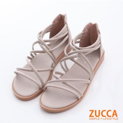 ZUCCA-繞繩環狀交叉平底涼鞋-白-z6614we