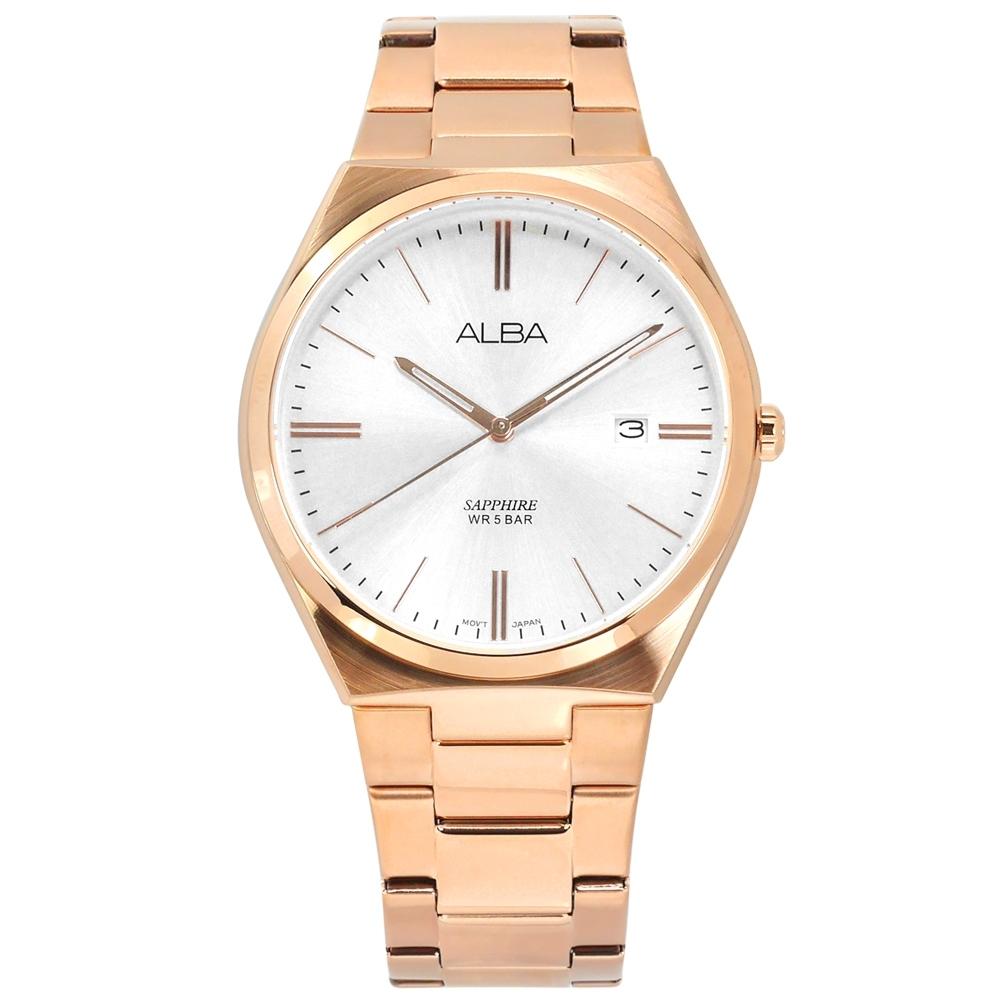 ALBA 輕薄簡約 藍寶石水晶玻璃 日期 不鏽鋼手錶-銀x鍍玫瑰金/41mm